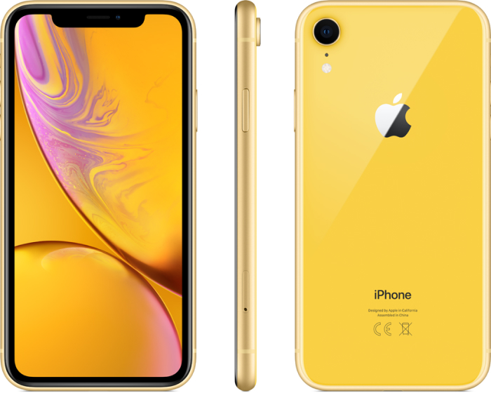 Apple iPhone SE Yellow Front Sideways and Back