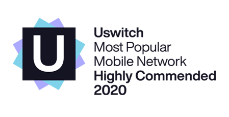 Uswitch Most Popular Mobile Network Highly Commended 2020