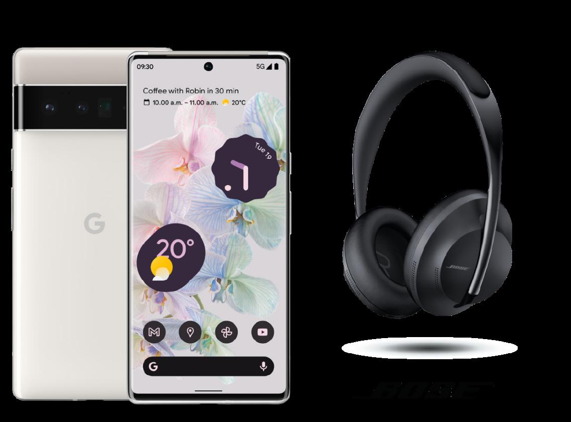 Google Pixel 6 Pro Handset and Bose 700 Wireless Headphones