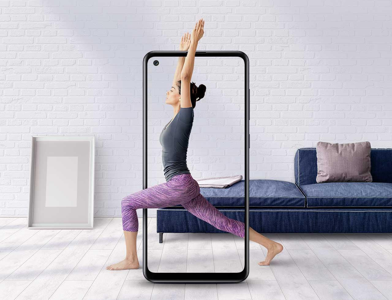 Lady in a Yoga Pose in a Samsung Phone Frame