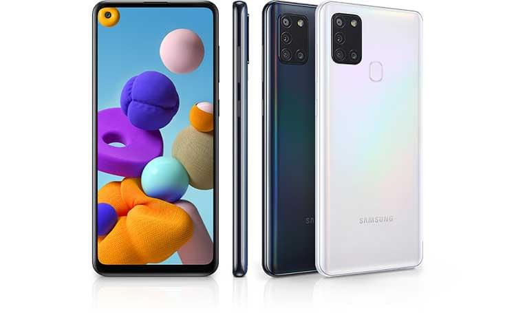 Samsung Galaxy A21s Front, Sideways and Back
