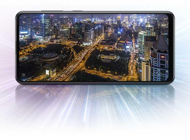 Image by night of the city on the screen of Samsung Galaxy A21s