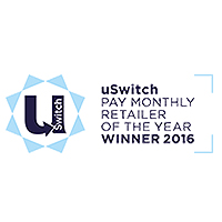uSwitch Mobile Awards Pay Monthly Retailer of the Year Winner 2016